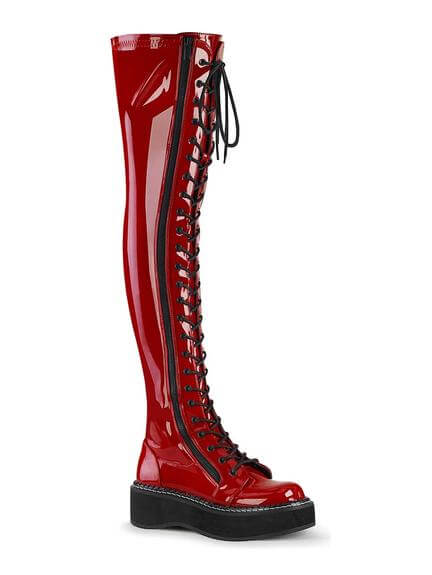 EMILY-375 Red Patent Boots