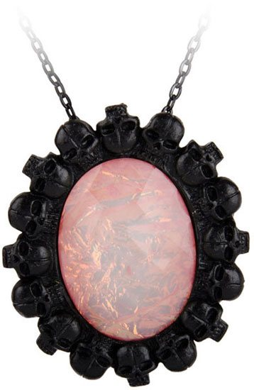 Fire Opal Skull Cameo Pendant Necklace
