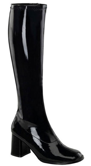GOGO-300 Black Patent Boots