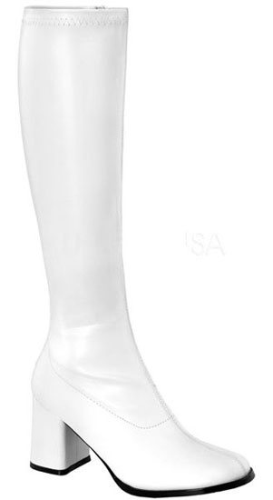 GOGO-300 White PU Gogo Boots