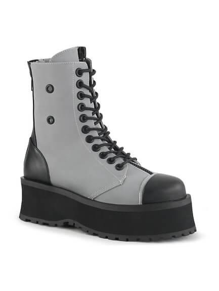 GRAVEDIGGER-10 Grey Reflective Platform Boots