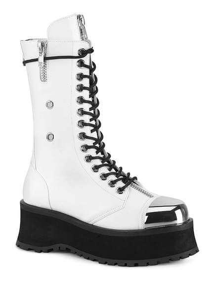 GRAVEDIGGER-14 Men's White Platform Boots