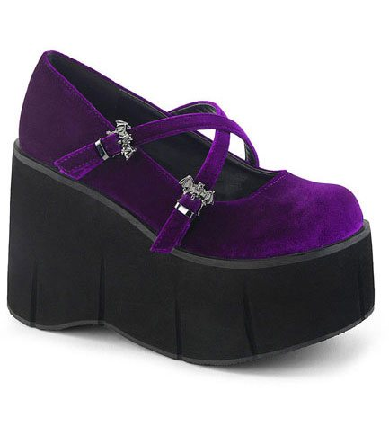 KERA-10 Purple Velvet Maryjane Shoes