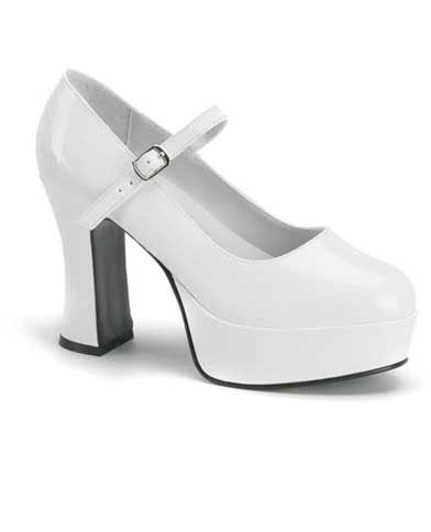 MARYJANE-50 White Platform Heels