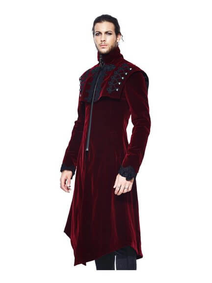 Morey Red Velvet Trench Coat