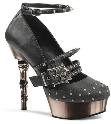 Muerto-680 Skull buckle high heels by Demonia