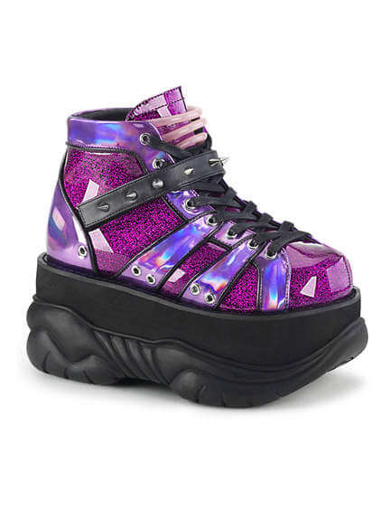 NEPTUNE-100 Purple Glitter Platform Shoes