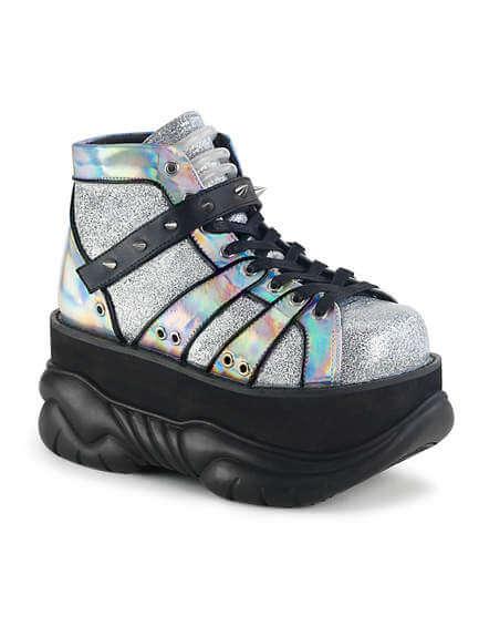 NEPTUNE-100 Silver Glitter Platform Shoes
