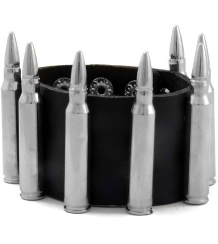 Nickel Bullets Leather Wristband