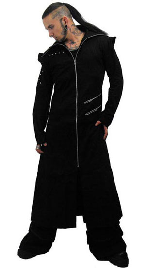 Odin Full Length Black Twill  Hooded Coat