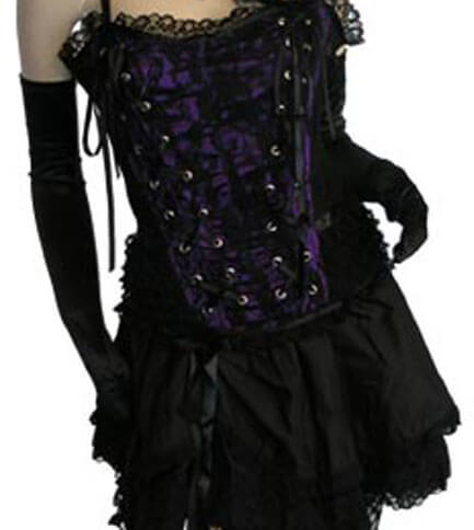 Tabatha Gothic Corset Satin Panel Purple