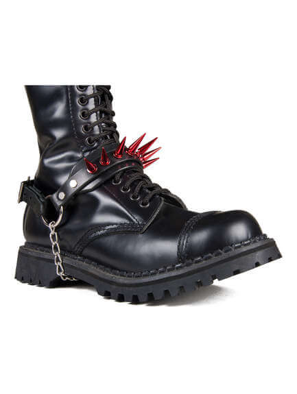 Red Spiked Boot Harness Strap