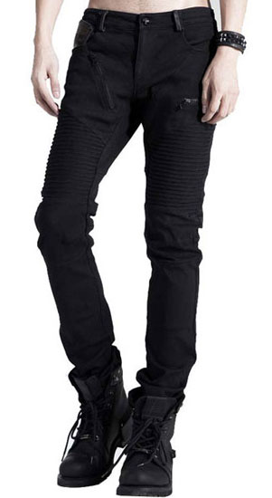 Ribbed Zipper Jeans