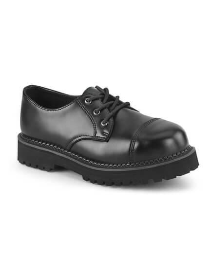 RIOT-03 Black Leather Steel Toe Shoes