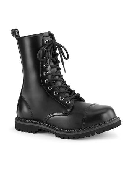 RIOT-10 Black Leather Steel Toe Boots