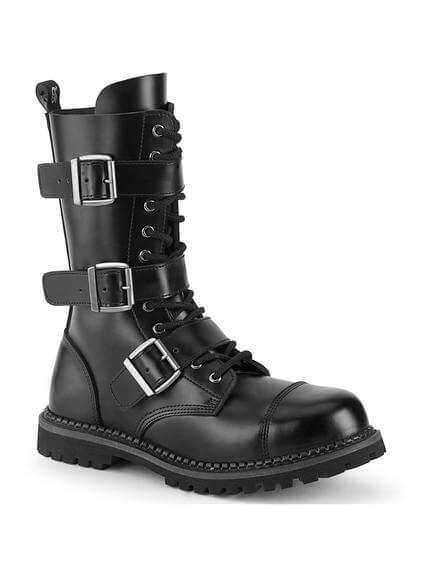 RIOT-12BK Black Leather 12 Eyelet Combat Boots
