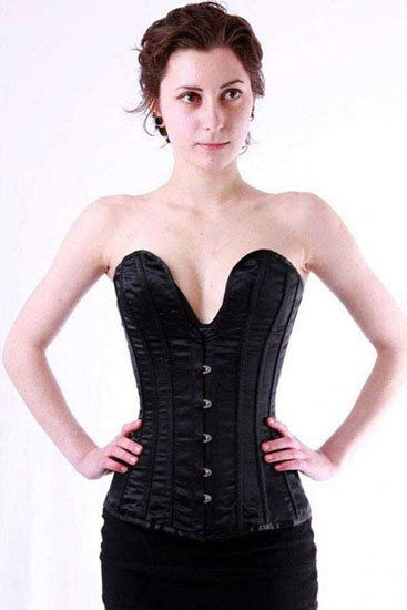 Scooped Satin Corset Black