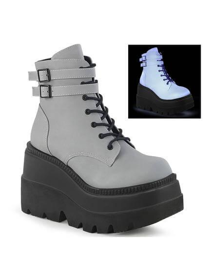 SHAKER-52 Grey Reflective Platform Boots