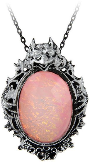 Gargoyle Shaw Pink Ocean Cameo Pendant Necklace