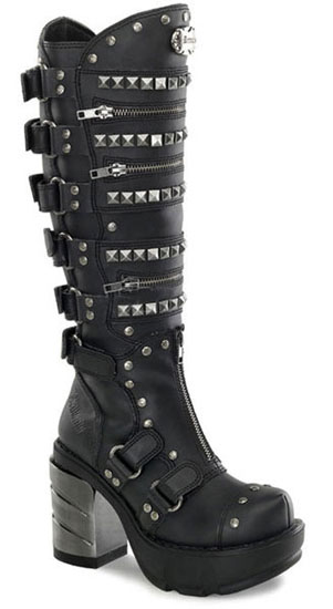 SINISTER-301 Chromed Pyramid Boots