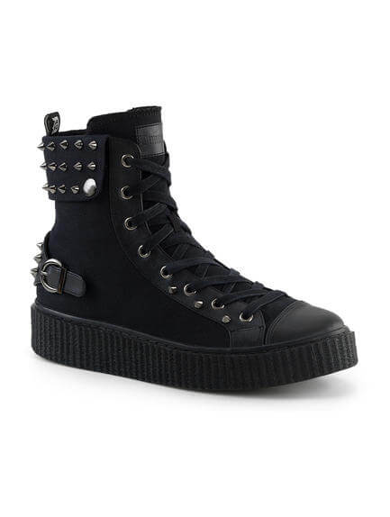 SNEEKER-266 Spiked Black Canvas Sneaker Boots