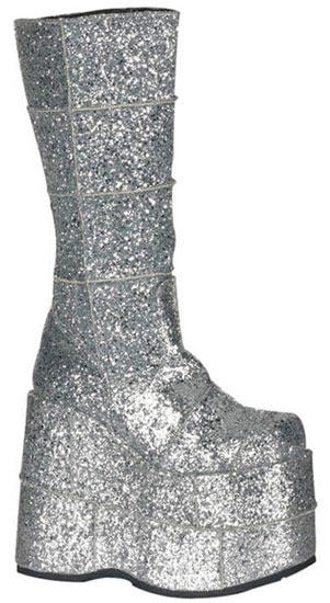 STACK-301G Silver Glitter Platform Boots