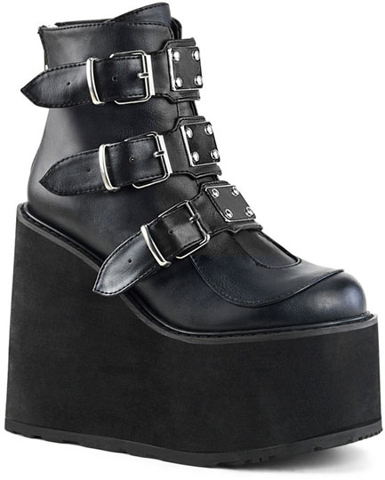 SWING-105 Black Vegan Leather Boots