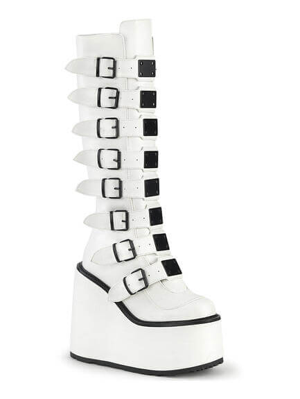SWING-815 White Buckled Platform Boots