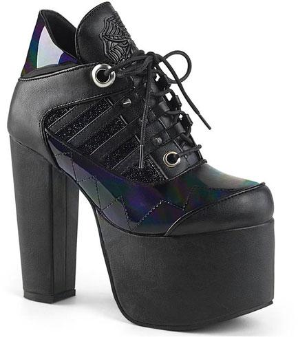 TORMENT-216 Black Hologram Platform Heels