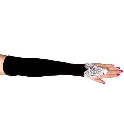 Velvet Long Gloves White