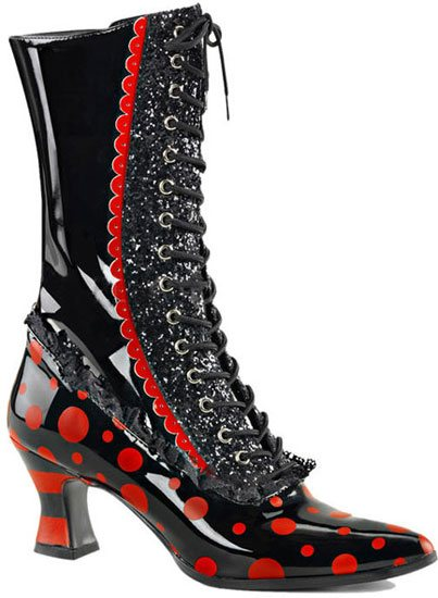 VICTORIAN-122 Red Polkadot Boots