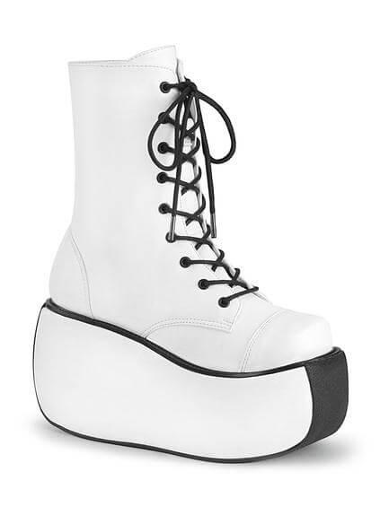 VIOLET-120 White Platform Boots