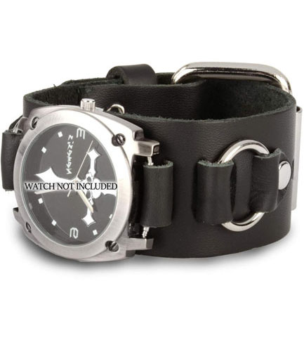 WB2R Black Leather Watchband