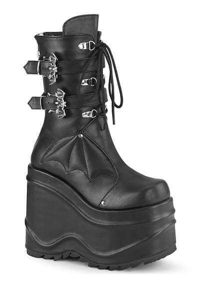 WAVE-150 Black Platform Boots