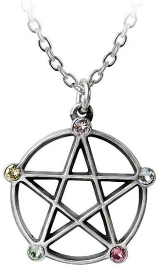 Wiccan Elemental Pentacle Pendant Necklace