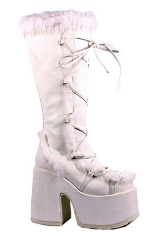 CAMEL-311 White Suede Boots