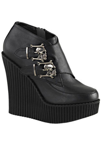 CREEPER-306 Black Skull Wedge Creepers