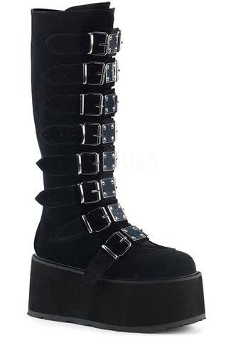 DAMNED-318 Black Velvet Platform Boots