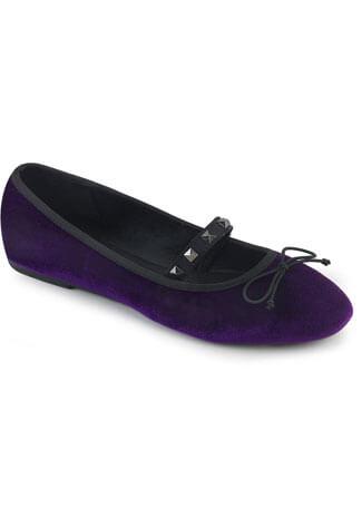 DRAC-07 Purple Velvet Mary Jane Ballet Flats