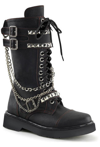 RIVAL-315 Black Chain Boots