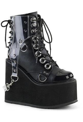 SWING-115 Wedge Platform Boots w/ PVC Harness
