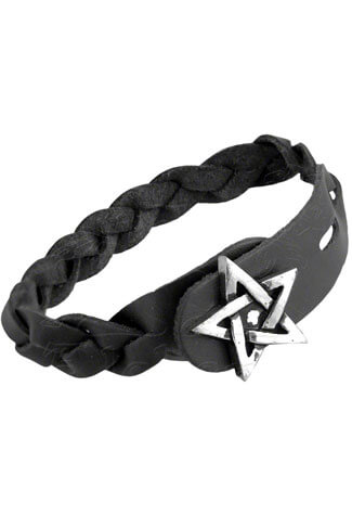 Pentagram Gaelic Leather Bracelet