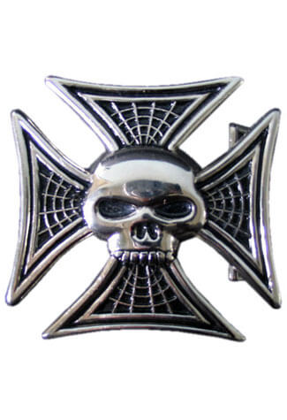 Iron Cross Skull Belt Buckle