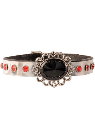 Red Black Silver Filigree Choker