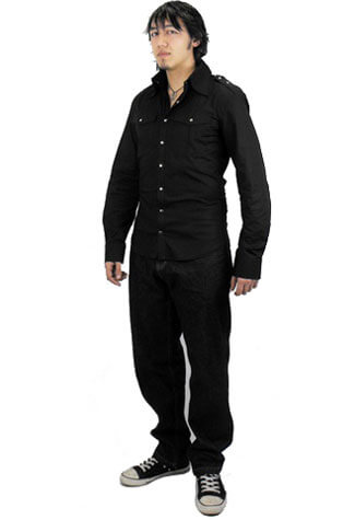 Odin Mens Black Poplin Shirt