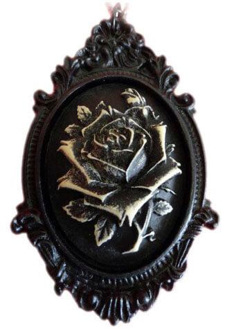 Victorian Black Rose Cameo Pendant