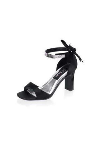 ROMANCE-372 Black Satin Heels