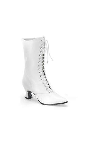 VICTORIAN-120 White Victorian Boots