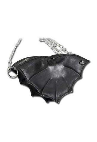 Bat Black Leather Purse