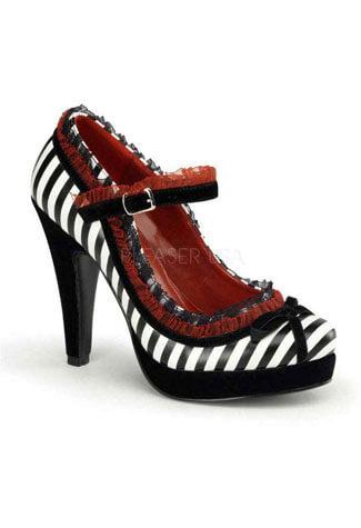 BETTIE-18 Stripe Ruffle Heels